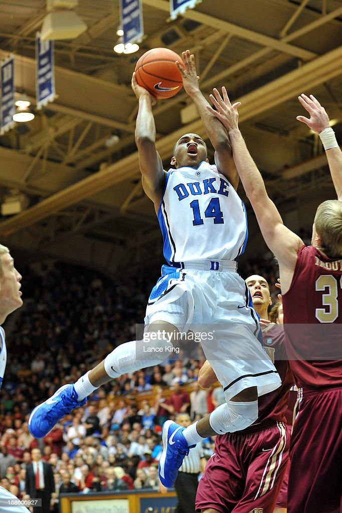 <a gi-track='captionPersonalityLinkClicked' href=/galleries/search?phrase=Rasheed+Sulaimon&family=editorial&specificpeople=7887134 ng-click='$event.stopPropagation()'>Rasheed Sulaimon</a> #14 of the Duke Blue Devils goes to the hoop against the Elon Phoenix at Cameron Indoor Stadium on December 20, 2012 in Durham, North Carolina. Duke defeated Elon 76-54.