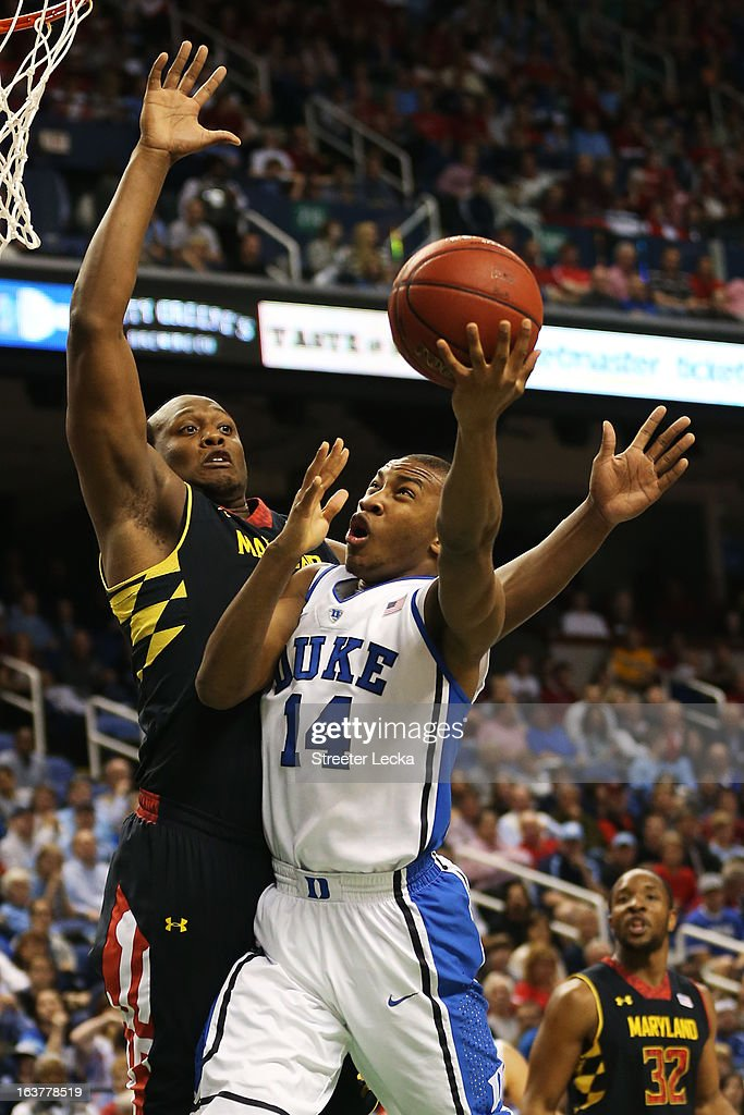<a gi-track='captionPersonalityLinkClicked' href=/galleries/search?phrase=Rasheed+Sulaimon&family=editorial&specificpeople=7887134 ng-click='$event.stopPropagation()'>Rasheed Sulaimon</a> #14 of the Duke Blue Devils goes up against Charles Mitchell #0 of the Maryland Terrapins in the first half of their game during the quarterfinals of the ACC Men's Basketball Tournament at Greensboro Coliseum on March 15, 2013 in Greensboro, North Carolina.