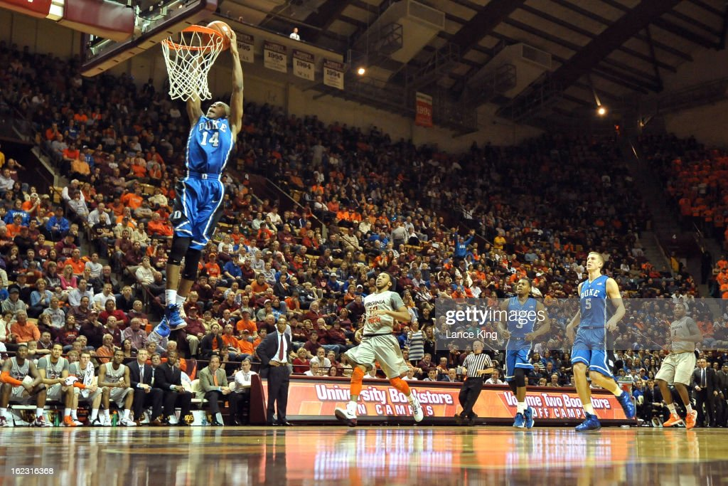 Rasheed Sulaimon #14 of the Duke Blue Devils goes up for a dunk against the Virginia Tech Hokies at Cassell Coliseum on February 21, 2013 in Blacksburg, Virginia.