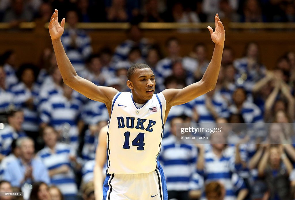 Rasheed Sulaimon #14 of the Duke Blue Devils reacts after a basket during their game against the Boston College Eagles at Cameron Indoor Stadium on February 24, 2013 in Durham, North Carolina.