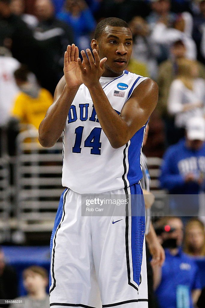 Rasheed Sulaimon #14 of the Duke Blue Devils reacts in the second half while taking on the Creighton Bluejays during the third round of the 2013 NCAA Men's Basketball Tournament at Wells Fargo Center on March 24, 2013 in Philadelphia, Pennsylvania.