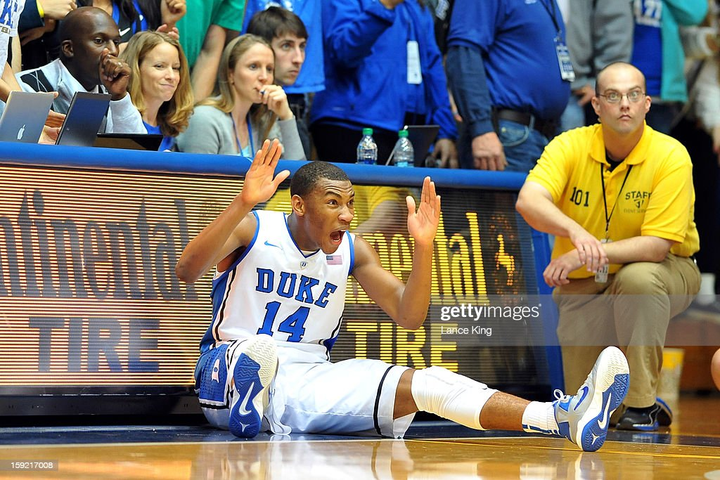 Rasheed Sulaimon #14 of the Duke Blue Devils reacts to a call during action against the Clemson Tigers at Cameron Indoor Stadium on January 8, 2013 in Durham, North Carolina. Duke defeated Clemson 68-40.