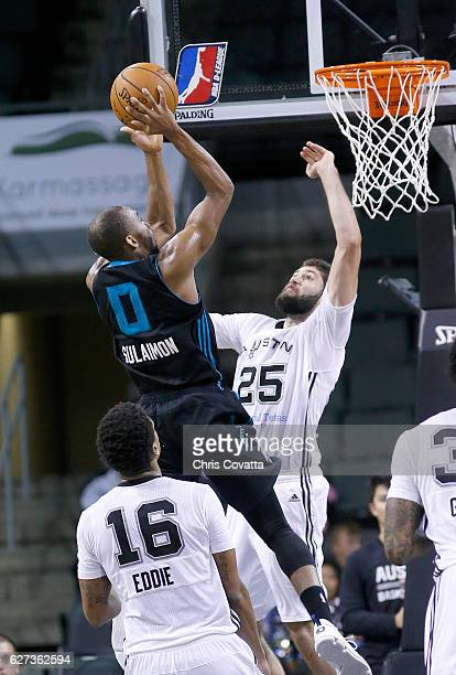 Rasheed Sulaimon of the Greensboro Swarm shoots the ball while guarded by Patricio Garino of the Austin Spurs at the HEB Center At Cedar Park on...