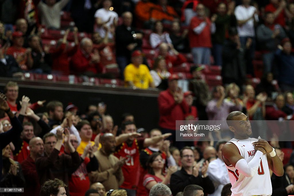 Rasheed Sulaimon #0 of the Maryland Terrapins acknowledges the crowd against the Illinois Fighting Illini during the second half at Xfinity Center on March 3, 2016 in College Park, Maryland. The Maryland Terrapins won, 81-55.