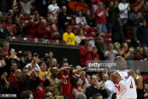 Rasheed Sulaimon of the Maryland Terrapins acknowledges the crowd against the Illinois Fighting Illini during the second half at Xfinity Center on...
