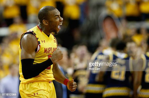 Rasheed Sulaimon of the Maryland Terrapins celebrates in the first half against the Michigan Wolverines during the Terrapins 8682 win at Xfinity...