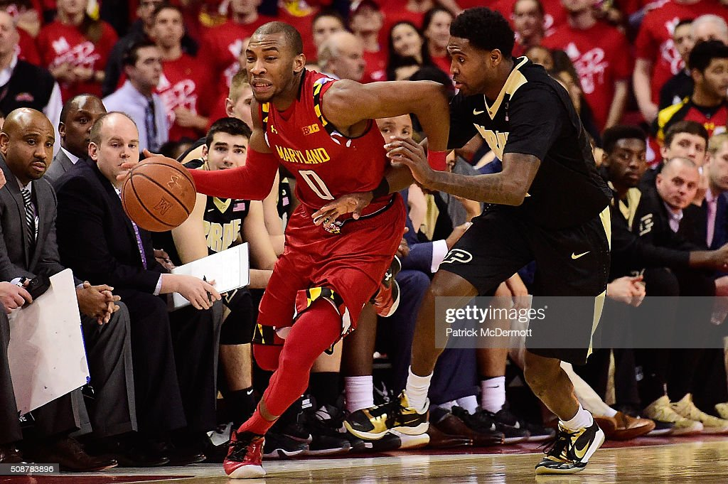 <a gi-track='captionPersonalityLinkClicked' href=/galleries/search?phrase=Rasheed+Sulaimon&family=editorial&specificpeople=7887134 ng-click='$event.stopPropagation()'>Rasheed Sulaimon</a> #0 of the Maryland Terrapins is fouled by Johnny Hill #1 of the Purdue Boilermakers in the second half during their game at Xfinity Center on February 6, 2016 in College Park, Maryland. The Maryland Terrapins defeated the Purdue Boilermakers 72-61.