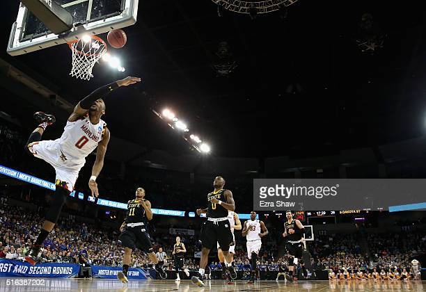 Rasheed Sulaimon of the Maryland Terrapins puts up a shot against the South Dakota State Jackrabbits during the first round of the 2016 NCAA Men's...