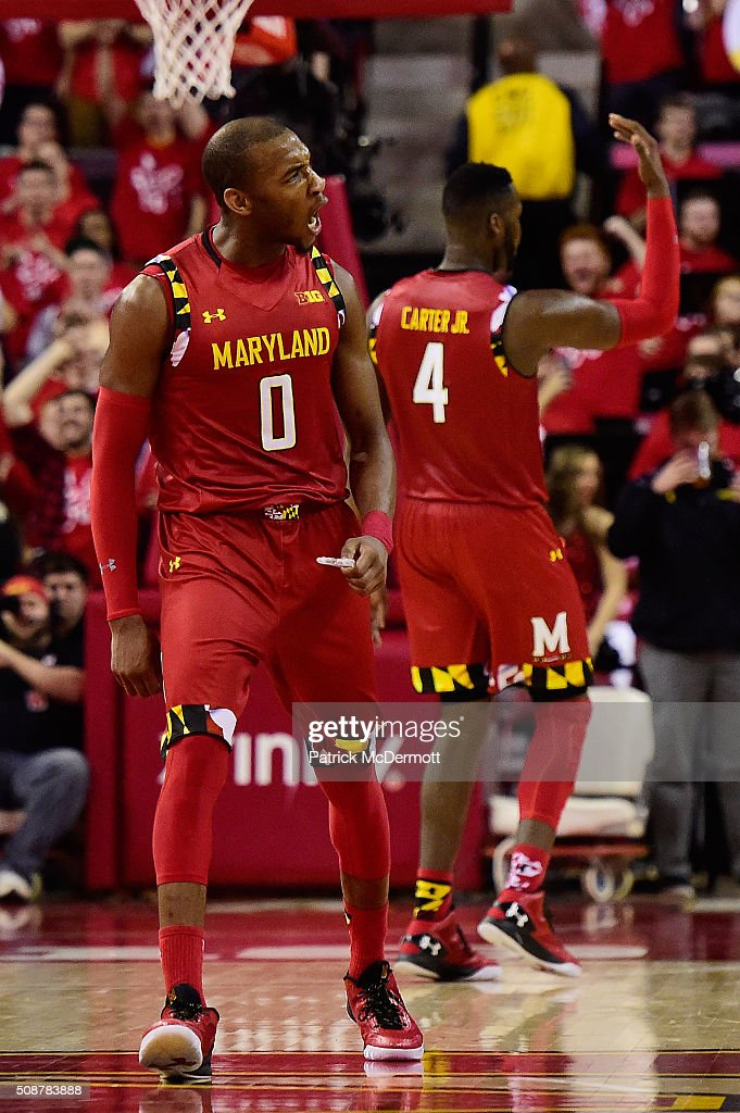 <a gi-track='captionPersonalityLinkClicked' href=/galleries/search?phrase=Rasheed+Sulaimon&family=editorial&specificpeople=7887134 ng-click='$event.stopPropagation()'>Rasheed Sulaimon</a> #0 of the Maryland Terrapins reacts after a play in the second half during their game against the Purdue Boilermakers at Xfinity Center on February 6, 2016 in College Park, Maryland. The Maryland Terrapins defeated the Purdue Boilermakers 72-61.