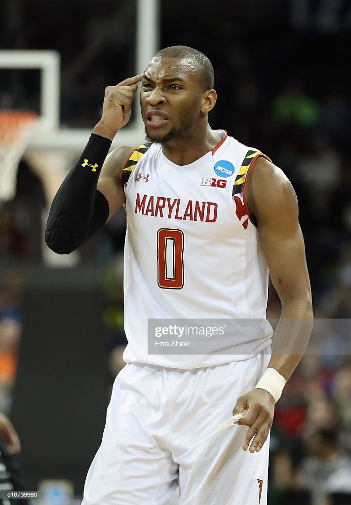<a gi-track='captionPersonalityLinkClicked' href=/galleries/search?phrase=Rasheed+Sulaimon&family=editorial&specificpeople=7887134 ng-click='$event.stopPropagation()'>Rasheed Sulaimon</a> #0 of the Maryland Terrapins reacts in the first half against the Hawaii Warriors during the second round of the 2016 NCAA Men's Basketball Tournament at Spokane Veterans Memorial Arena on March 20, 2016 in Spokane, Washington.