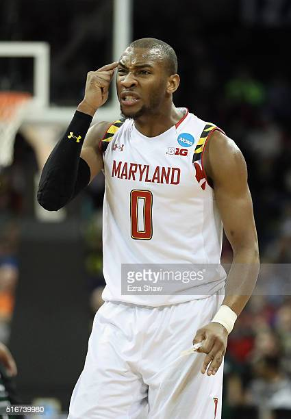 Rasheed Sulaimon of the Maryland Terrapins reacts in the first half against the Hawaii Warriors during the second round of the 2016 NCAA Men's...