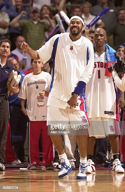 Rasheed Wallace and Chauncey Billups of the Detroit Pistons watch the final seconds tick away as they prepare to celebrate the Pistons win against...