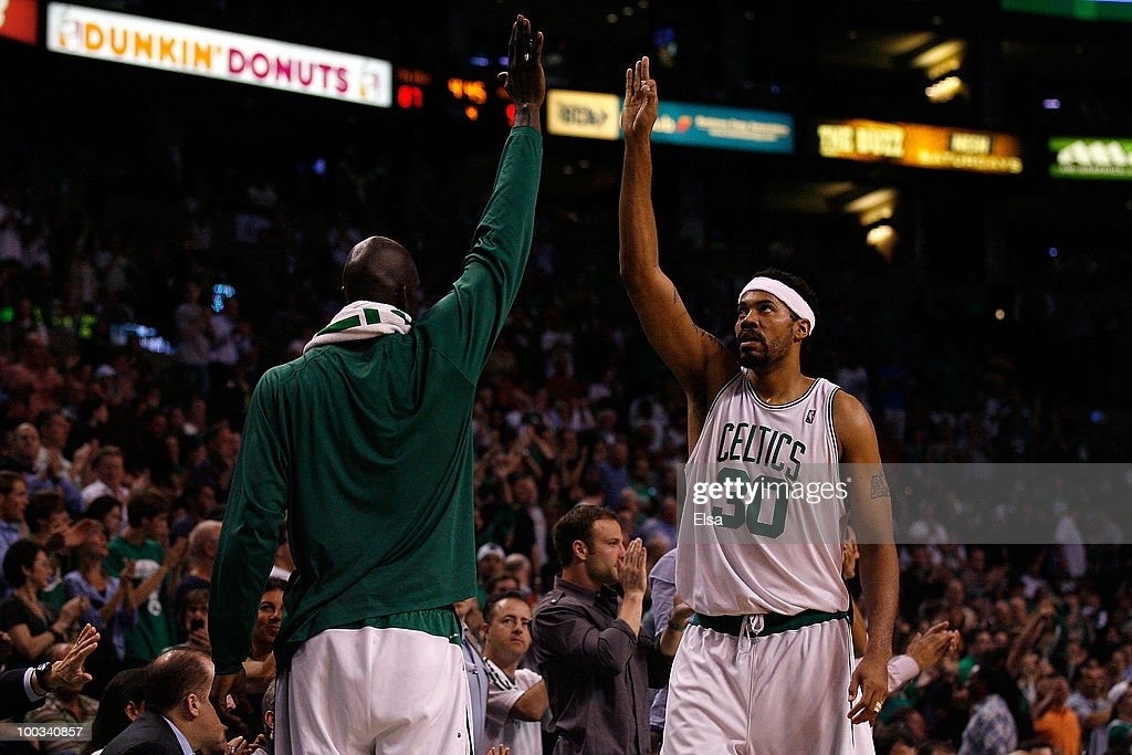Rasheed Wallace #30 and Kevin Garnett #5 of the Boston Celtics celebrate a play against the Orlando Magic at TD Banknorth Garden in Game Three of the Eastern Conference Finals during the 2010 NBA Playoffs on May 22, 2010 in Boston, Massachusetts.