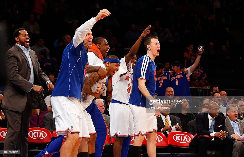 Rasheed Wallace #36, Jason Kidd #5, Amar'e Stoudemire #1, Carmelo Anthony #7, Iman Shumpert #21 and Steve Novak #16 of the New York Knicks celebrate from the bench late in a game against the Sacramento Kings at Madison Square Garden on February 2, 2013 in New York City. The Knicks defeated the Kings 120-81.