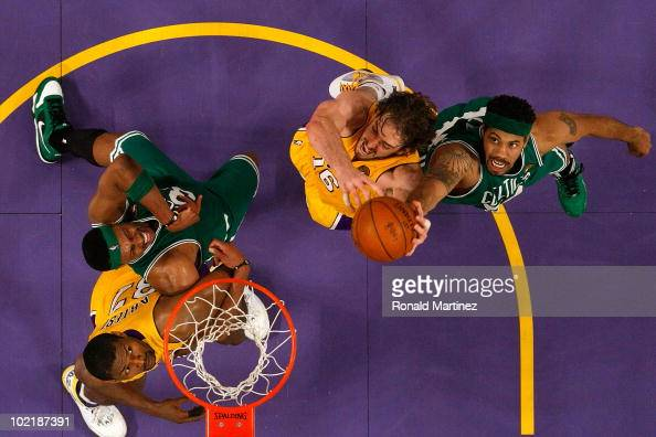 Rasheed Wallace of the Boston Celtics and Pau Gasol of the Los Angeles Lakers go up for a rebound in Game Seven of the 2010 NBA Finals at Staples...