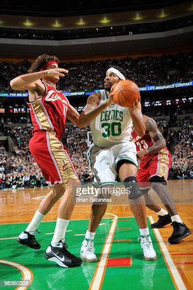 Rasheed Wallace of the Boston Celtics goes up against Anderson Varejao of the Cleveland Cavaliers during the game on February 25 2010 at TD Banknorth...