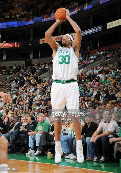 Rasheed Wallace of the Boston Celtics goes up for a shot against the New Jersey Nets during an NBA preseason game on October 11 2009 at the TD...
