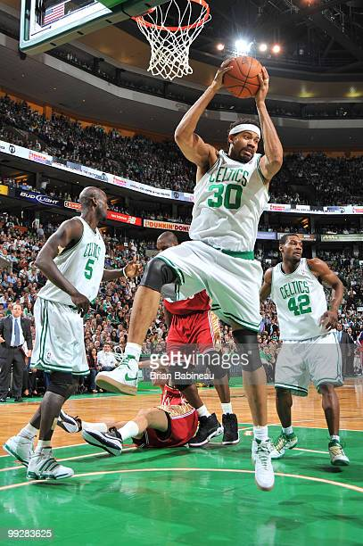 Rasheed Wallace of the Boston Celtics grabs a rebound during the game against the Cleveland Cavaliers in Game Six of the Eastern Conference...