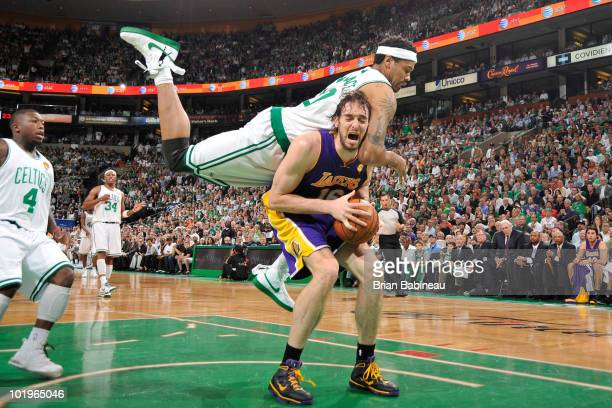 Rasheed Wallace of the Boston Celtics jumps up for the rebound against Pau Gasol of the Los Angeles Lakers in Game Four of the 2010 NBA Finals on...