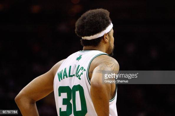Rasheed Wallace of the Boston Celtics looks across the court during the game against the Cleveland Cavaliers on October 27 2009 at Quicken Loans...