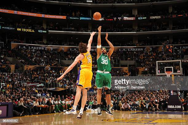 Rasheed Wallace of the Boston Celtics shoots against Pau Gasol of the Los Angeles Lakers at Staples Center on February 18 2010 in Los Angeles...
