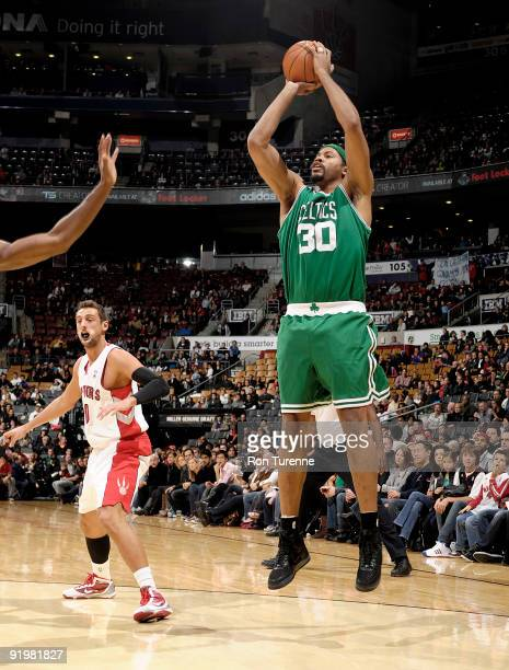 Rasheed Wallace of the Boston Celtics takes the uncontested jumper during a game against the Toronto Raptors on October 18 2009 at the Air Canada...