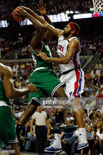 Rasheed Wallace of the Detroit Pistons blocks the shot of Kendrick Perkins of the Boston Celtics during Game Six of the Eastern Conference finals...