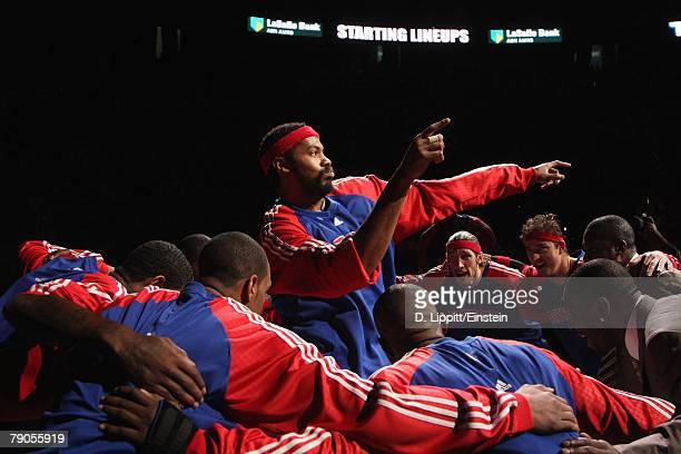 Rasheed Wallace of the Detroit Pistons dances in the team huddle prior to the game against the Milwaukee Bucks on December 31 2007 at the Palace of...