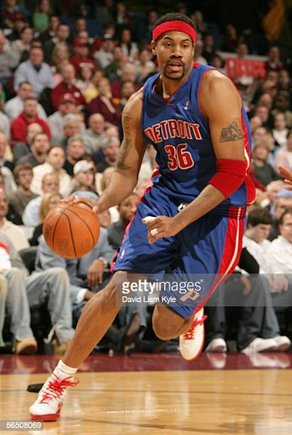 Rasheed Wallace of the Detroit Pistons handles the ball down court during the game against the Cleveland Cavaliers on December 31 2005 at The Quicken...