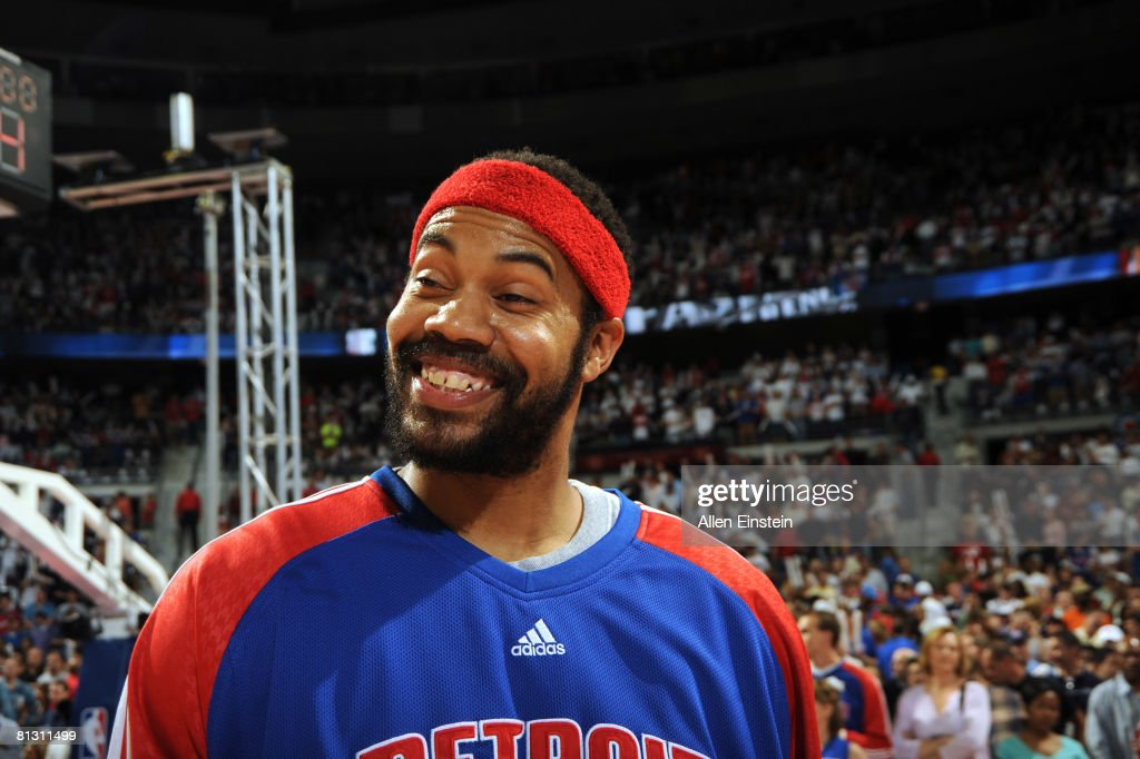 Rasheed Wallace of the Detroit Pistons has a big smile on his face before a game against the Boston Celtics in Game Six of the Eastern Conference...