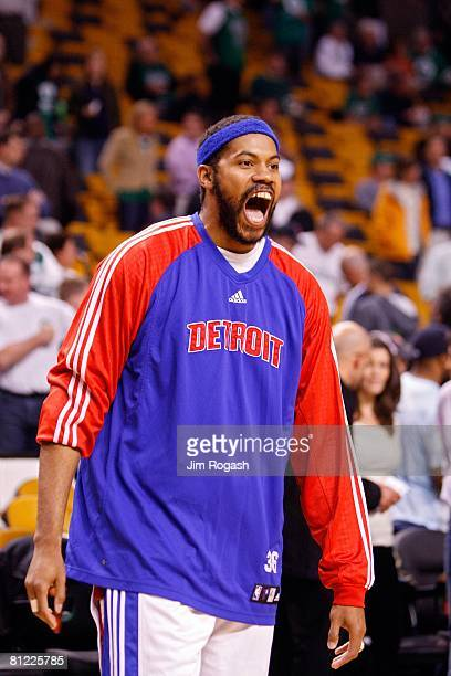 Rasheed Wallace of the Detroit Pistons looks on against the Boston Celtics during Game One of the 2008 NBA Eastern Conference finals at the TD...
