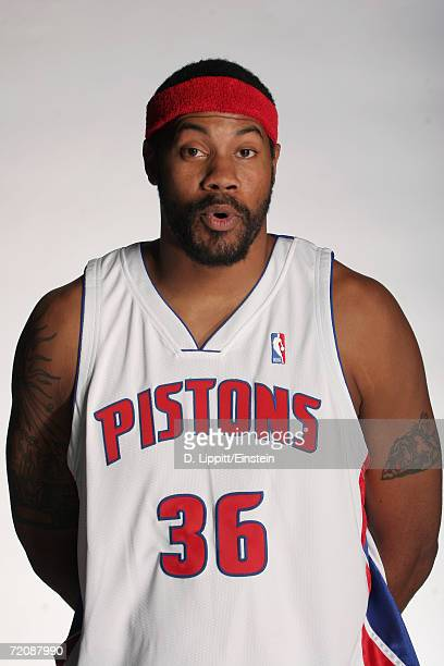 Rasheed Wallace of the Detroit Pistons poses during NBA media day on October 2 2006 in Auburn Hills Michigan NOTE TO USER User expressly acknowledges...