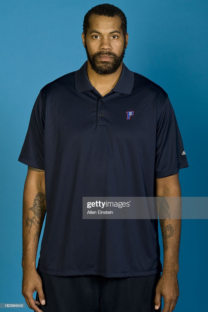 Rasheed Wallace of the Detroit Pistons poses for a picture during Media Day on September 30, 2013 at The Palace of Auburn Hills in Auburn Hills, Michigan.