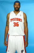 Rasheed Wallace of the Detroit Pistons poses for a portrait during the Pistons Media Day on October 3 2005 in Auburn Hills Michigan NOTE TO USER User...