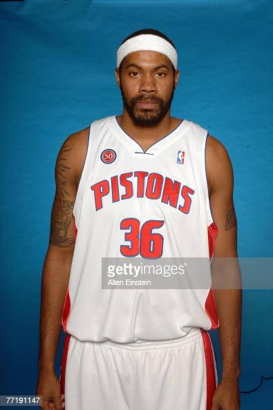 Rasheed Wallace of the Detroit Pistons poses for a portrait during NBA Media Day at the Pistons Practice Facility on October 1 2007 in Auburn Hills...