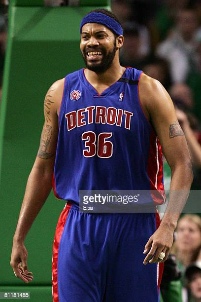 Rasheed Wallace of the Detroit Pistons reacts after a call against the Boston Celtics during Game One of the 2008 NBA Eastern Conference finals at...