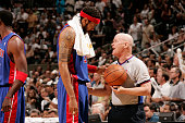 Rasheed Wallace of the Detroit Pistons talks with referee Joey Crawford against the San Antonio Spurs in Game Seven of the 2005 NBA Finals on June 23...