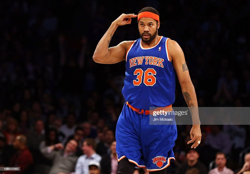 Rasheed Wallace #36 of the New York Knicks celebrates a htree point basket against the Brooklyn Nets at Barclays Center on December 11, 2012 in the Brooklyn borough of New York City.The Knicks defeated the Nets 100-97.