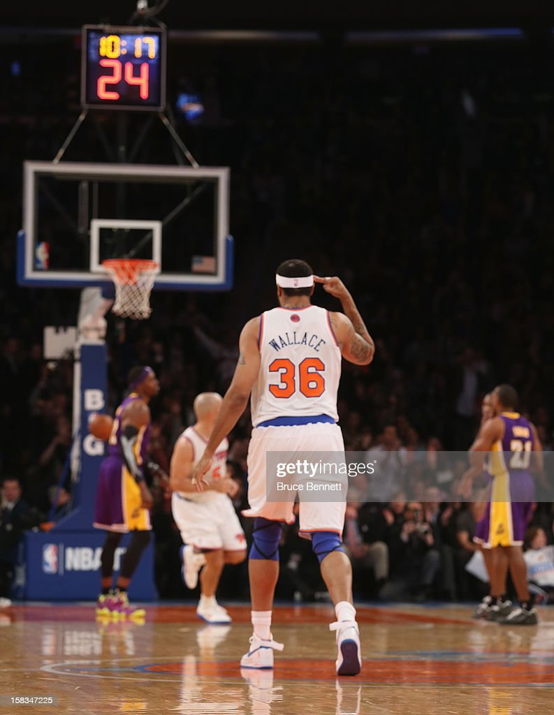 Rasheed Wallace #36 of the New York Knicks celebrates his three pointer against the Los Angeles Lakers at Madison Square Garden on December 13, 2012 in New York City.