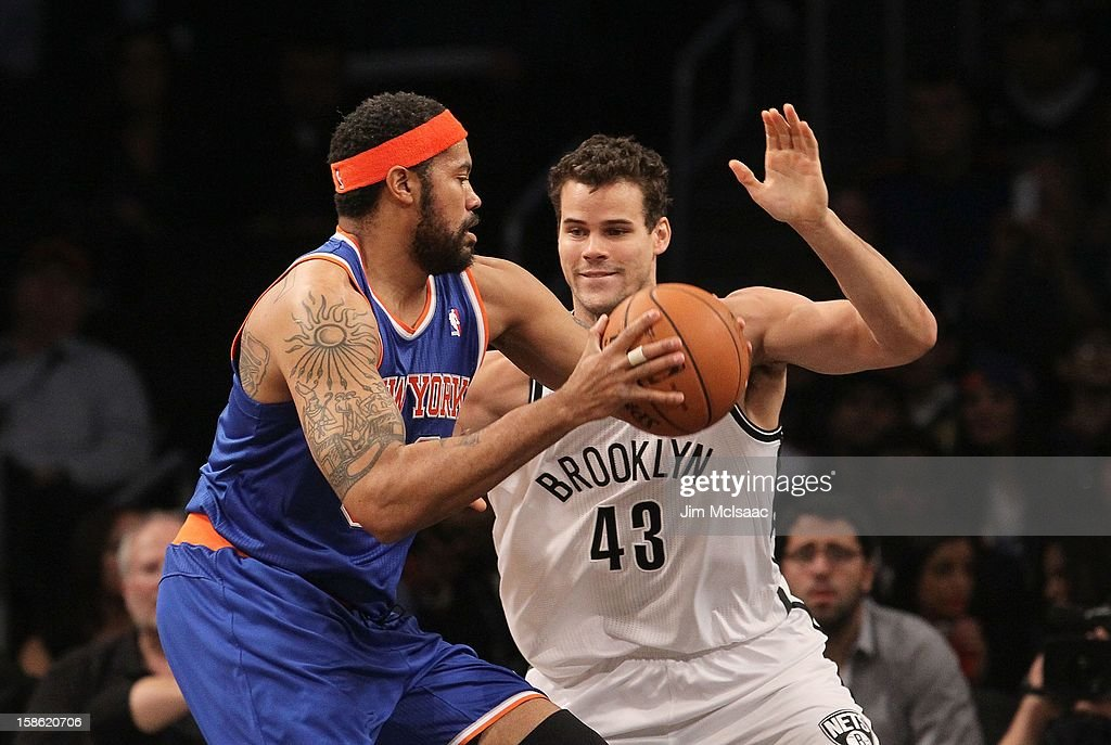 Rasheed Wallace #36 of the New York Knicks in action against Kris Humphries #43 of the Brooklyn Nets at Barclays Center on December 11, 2012 in the Brooklyn borough of New York City.The Knicks defeated the Nets 100-97.