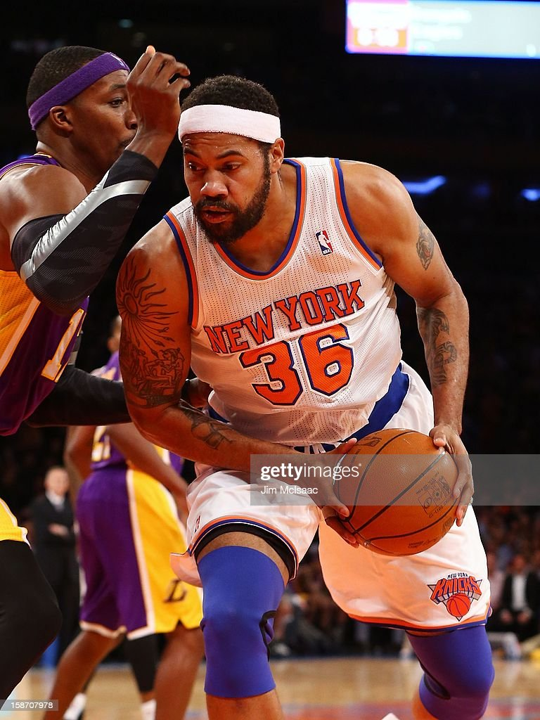 Rasheed Wallace #36 of the New York Knicks in action against the Los Angeles Lakers at Madison Square Garden on December 13, 2012 in New York City. The Knicks defeated the Lakers 116-107.