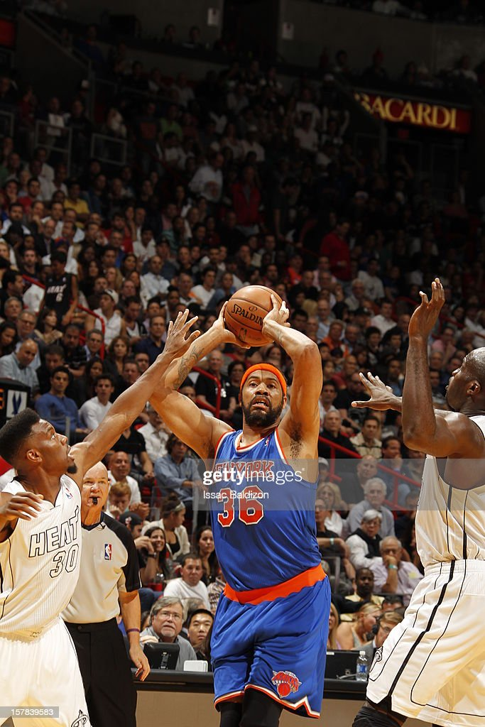 Rasheed Wallace #36 of the New York Knicks looks to pass the ball during a game on December 6, 2012 at American Airlines Arena in Miami, Florida.