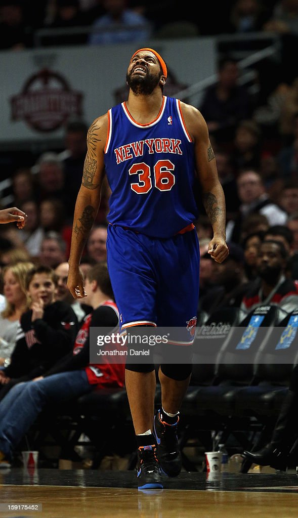 Rasheed Wallace #36 of the New York Knicks reacts to a call during a game against the Chicago Bulls at the United Center on December 8, 2012 in Chicago, Illinois. The Bulls defeated the Knicks 93-85.