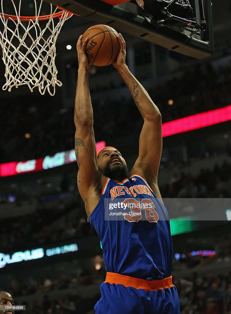 Rasheed Wallace #36 of the New York Knicks rebounds against the Chicago Bulls at the United Center on December 8, 2012 in Chicago, Illinois. The Bulls defeated the Knicks 93-85.