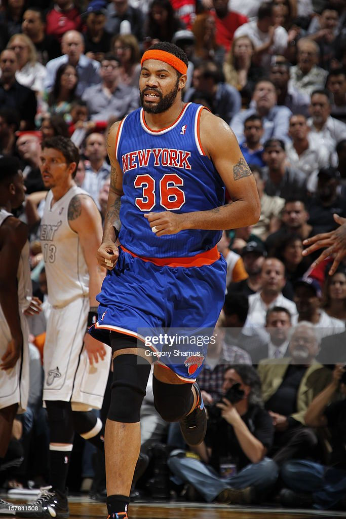 Rasheed Wallace #36 of the New York Knicks runs up the court during a game on December 6, 2012 at American Airlines Arena in Miami, Florida.