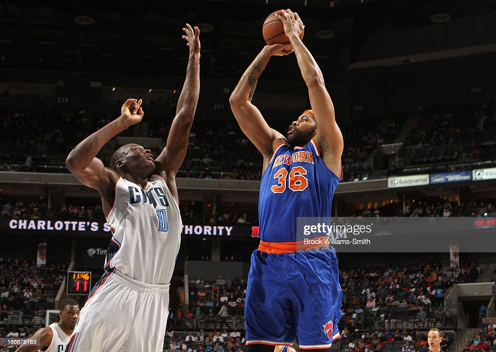 Rasheed Wallace #36 of the New York Knicks shoots against Bismack Biyombo #0 of the Charlotte Bobcats at the Time Warner Cable Arena on April 15, 2013 in Charlotte, North Carolina.