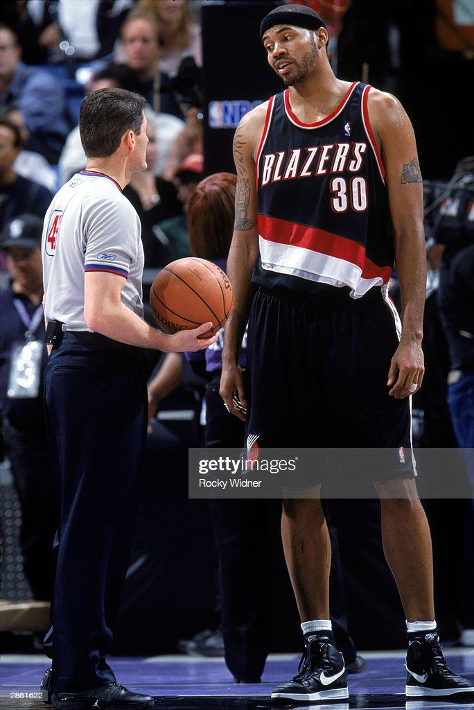 Rasheed Wallace of the Portland Trail Blazers and referee Scott Foster have a conversation during the NBA game against the Sacramento Kings at Arco...