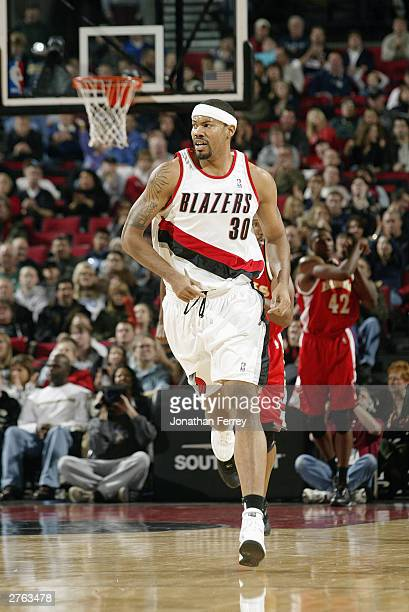 Rasheed Wallace of the Portland Trail Blazers runs upcourt during the game against the Atlanta Hawks at Rose Garden on November 8 2003 in Portland...
