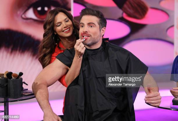 Rashel Diaz and Roberto Manrique are seen on the set of 'Un Nuevo Dia' at Telemundo Studios on August 16 2017 in Miami Florida