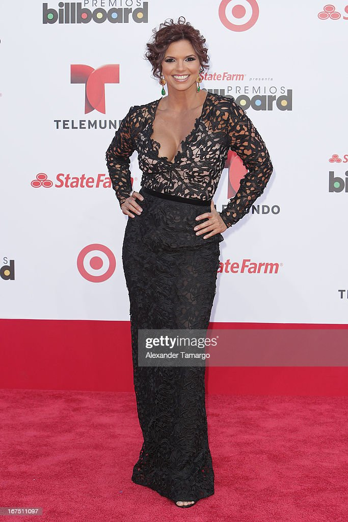 Rashel Diaz arrives at Billboard Latin Music Awards 2013 at Bank United Center on April 25, 2013 in Miami, Florida.